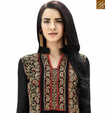 A STYLISH BAZAAR PRESENTATION STUNNING BLACK COLORED DESIGNER SUIT WITH GLITTERY EMBROIDERY WORK ANEK2124