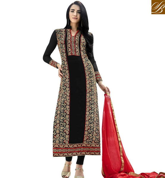 STYLISH BAZAAR STUNNING BLACK COLORED DESIGNER SUIT WITH GLITTERY EMBROIDERY WORK ANEK2124