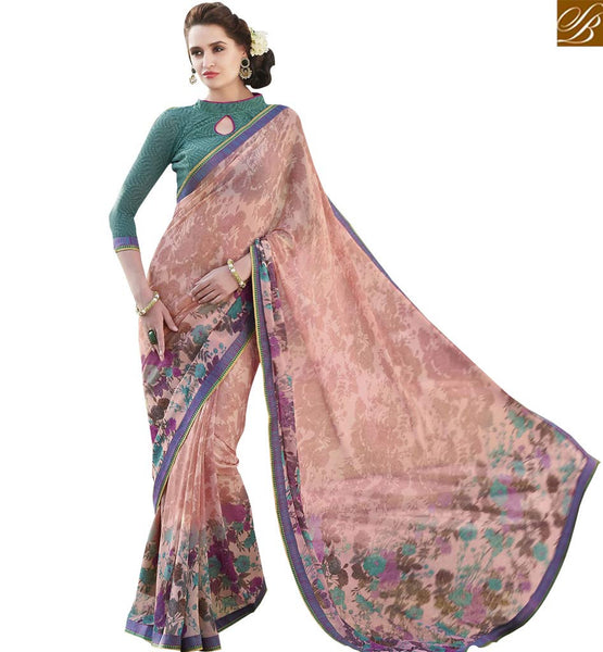 STYLISH BAZAAR PERFECT PEACH & CREAMED COLORED PRINT WORK SAREE RTRNK2124