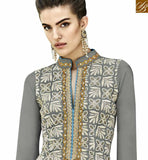 STYLISH BAZAAR INTRODUCES DAZZLING GREY COLORED DESIGNER SUIT WITH EYE CATCHING EMBROIDERED WORK ANEK2125