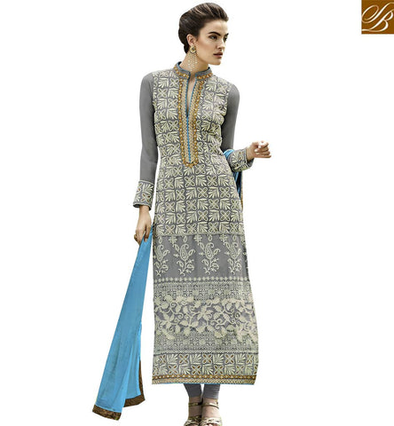 STYLISH BAZAAR DAZZLING GREY COLORED DESIGNER SUIT WITH EYE CATCHING EMBROIDERED WORK ANEK2125