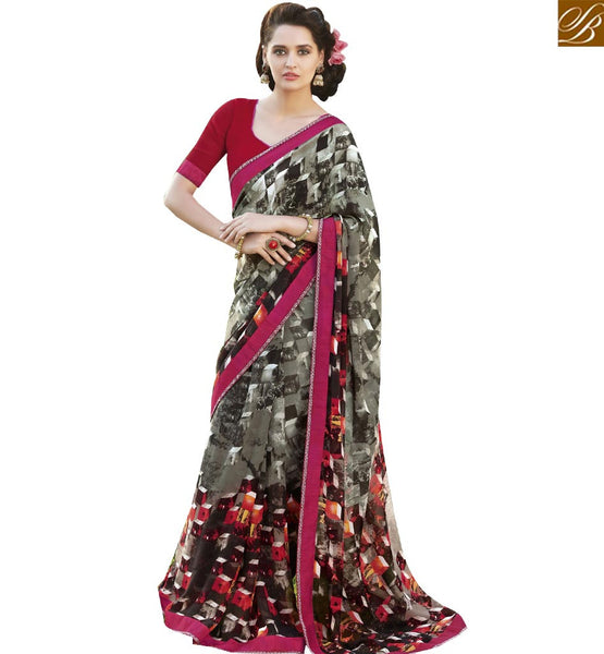 STYLISH BAZAAR GLITTERING MULTI COLORED PRINT WORK SAREE RTRNK2125