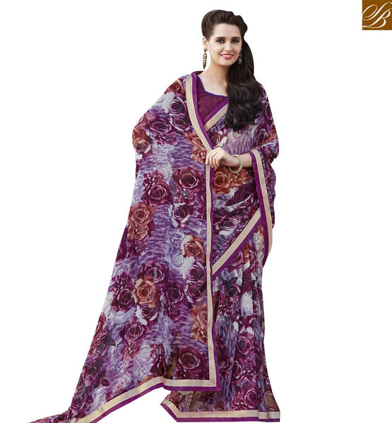 STYLISH BAZAAR FLAWLESS MULTI COLORED PRINT WORK SAREE RTRNK2126