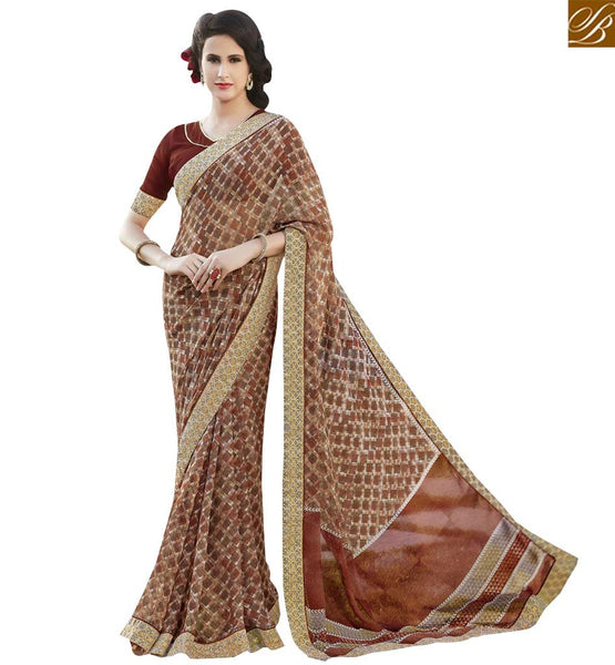 STYLISH BAZAAR ALLURING MULTI COLORED PRINT WORK SAREE RTRNK2127A