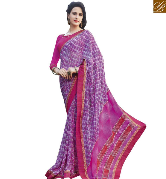 STYLISH BAZAAR CHARMING PURPLE & PINK COLORED PRINT WORK SAREE RTRNK2127B