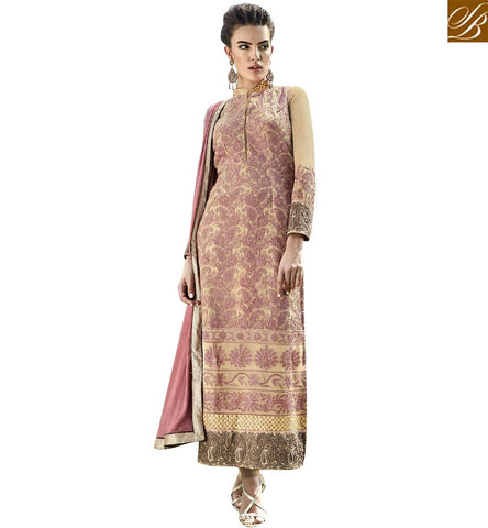 STYLISH BAZAAR GORGEOUS CREAM COLORED DESIGNER SUIT WITH CLASSY EMBROIDERED WORK ANEK2127