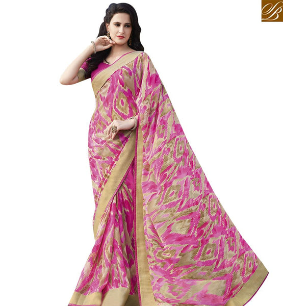 STYLISH BAZAAR FASCINATING PINK & CREAM COLORED GEORGETTE PRINT SAREE RTRNK2128A