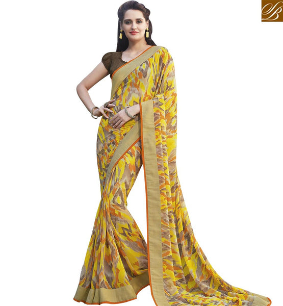 STYLISH BAZAAR MESMERIZING YELLOW COLORED GEORGETTE PRINT SAREE RTRNK2128B