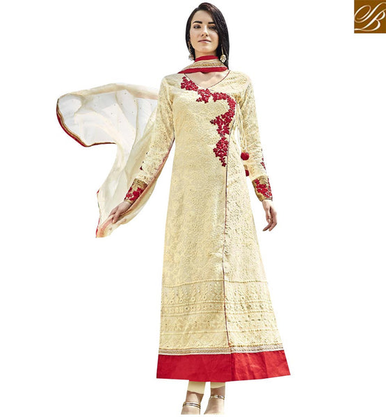 STYLISH BAZAAR GLAMOROUS CREAM COLORED DESIGNER SALWAR KAMEEZ WITH FLORAL EMBROIDERY WORK ANEK2128