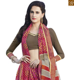 BROUGHT TO YOU BY STYLISH BAZAAR SPLENDID PINK & BROWN COLORED PRINT WORK SAREE RTRNK2129