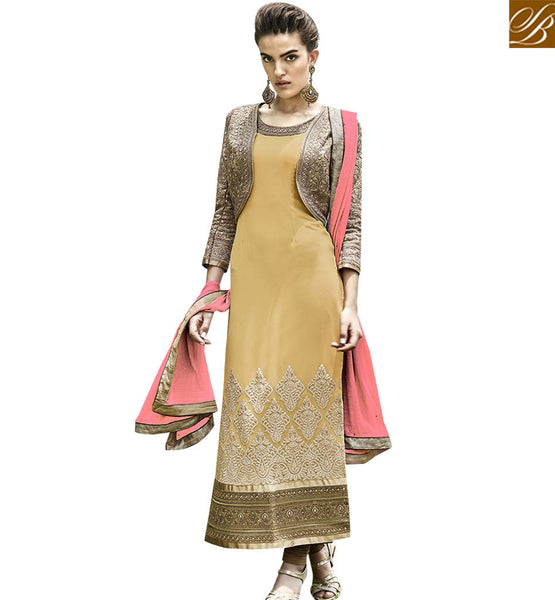 STYLISH BAZAAR ROYAL LOOKING MUSTARD AND BROWN COLORED JACKET STYLE DESIGNER SALWAR SUIT ANEK2129