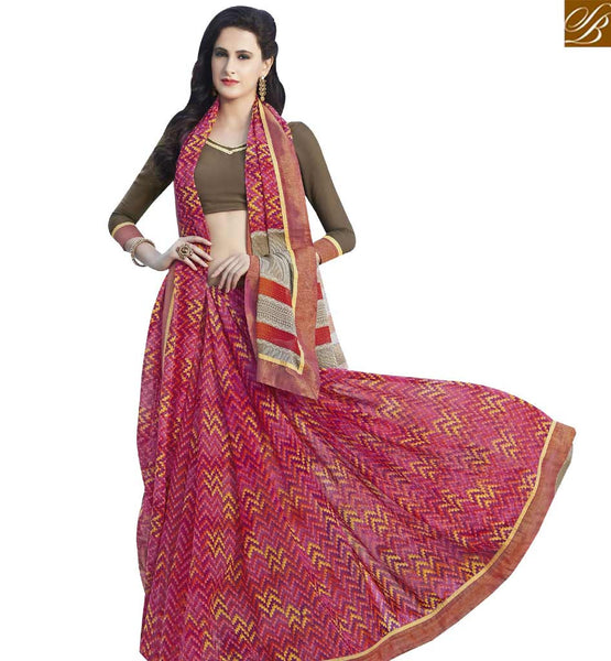 STYLISH BAZAAR SPLENDID PINK & BROWN COLORED PRINT WORK SAREE RTRNK2129