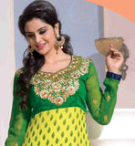 YELLOW & GREEN PARTY WEAR FAUX GEORGETTE STRAIGHT SALWAR KAMEEZ WITH DUPATTA