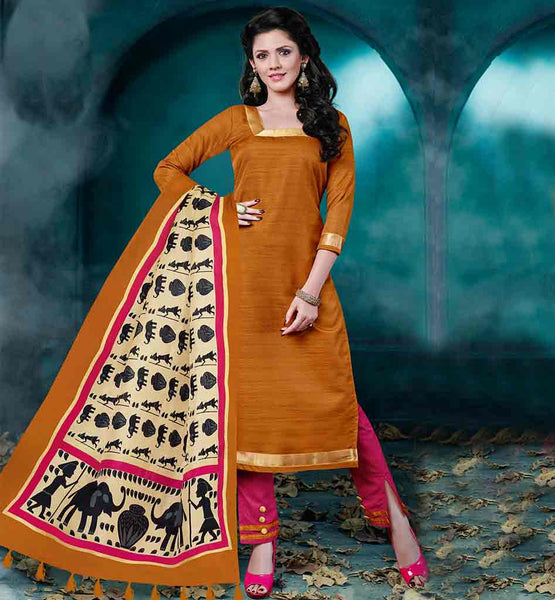 INDIAN TRADITIONAL SALWAR KAMEEZ DESIGN FOR WOMEN MUSTARD COLOR BHAGALPURI FABRIC DRESS WITH PINK COLOR COTTON FABRIC