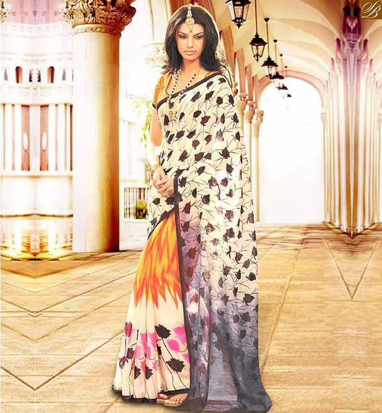 DESIGNER BLOUSES MODELS FOR BEAUTIFUL HALF SAREE DESIGNER WEAR OFF WHITE BHAGALPURI SILK CASUAL WEAR SAREE WITH YELLOW BHAGALPURI DESIGNER BLOUSE