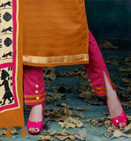 ETHNIC PRINT WORK ON DUPATTA AND SLIM LACE ON SLEEVE AND HEMLINE INDIAN TRADITIONAL SALWAR KAMEEZ DESIGN FOR