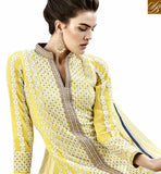 STYLISH BAZAAR INTRODUCES PERFECT GIRLISH YELLOW COLORED DESIGNER SUIT WITH STRIKING EMBROIDERED WORK ANEK2130