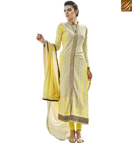 STYLISH BAZAAR PERFECT GIRLISH YELLOW COLORED DESIGNER SUIT WITH STRIKING EMBROIDERED WORK ANEK2130