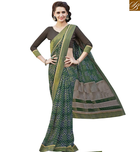 STYLISH BAZAAR BEAUTIFUL MULTI COLORED PRINT WORK SAREE RTRNK2130