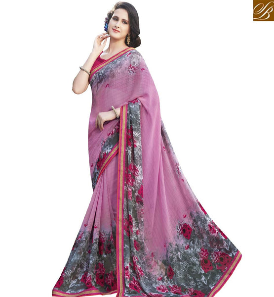 STYLISH BAZAAR EXTRAORDINARY PEACH & PINK COLORED GEORGETTE PRINT SAREE RTRNK2131