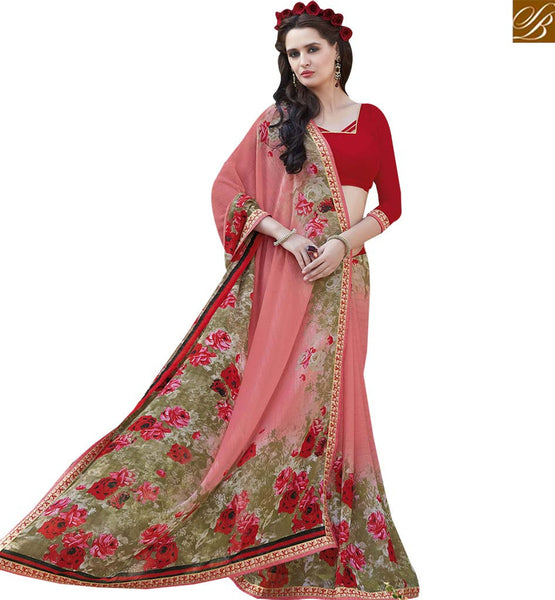 STYLISH BAZAAR AMAZING PEACH & MAROON COLORED PRINT WORK SAREE RTRNK2132