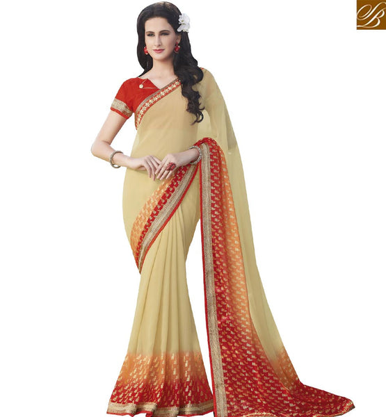 STYLISH BAZAAR ADORABLE CREAM & ORANGE COLORED SAREE WITH SPLEDID BORDER WORK RTRNK2135A