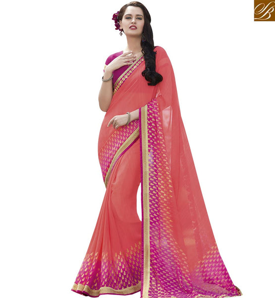 STYLISH BAZAAR MOD PEACH AND PINK COLORED SAREE WITH BEAUTIFUL BORDER WORK RTRNK2135B