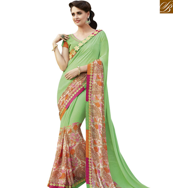 STYLISH BAZAAR RICH LOOKING GREEN COLORED SAREE WITH GLITTERY BORDER WORK RTRNK2136
