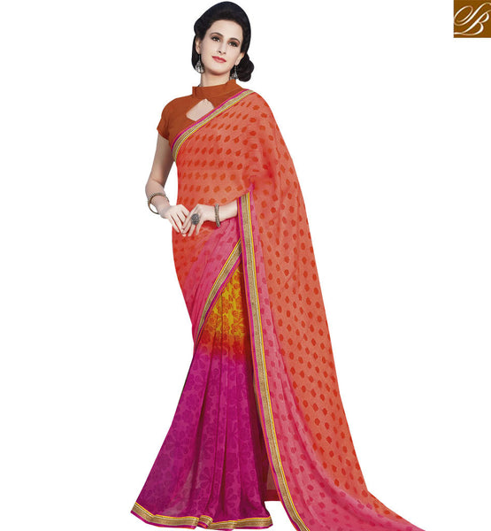 STYLISH BAZAAR GORGEOUS PINK & ORANGE COLORED PRINT WORK SAREE RTRNK2137