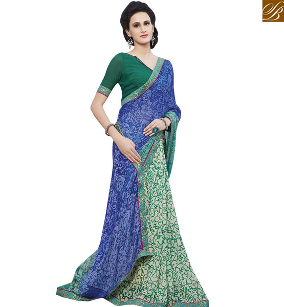 STYLISH BAZAAR SENSATIONAL MULTI COLORED GEORGETTE PRINT WORK SAREE RTRNK2138