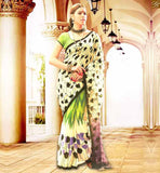 COOL DESIGNER BLOUSES PATTERN FOR HALF SAREE DESIGNS AT CHEAP PRICE SIMPLE OFF WHITE BHAGALPURI CASUAL SAREE WITH GREEN BHAGALPURI BLOUSE