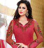 ANARKALI SALWAR KAMEEZ LOVELY PATTERN & FLORAL EMBROIDERY DESIGNING RED BELA FASHIONS SURAT SUITS 214