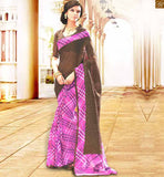 DESIGNER BLOUSES PATTERN ON BACK NECK HALF SAREE LATEST DESIGNS BROWN AND PINK BHAGALPURI CASUAL SAREE WITH BROWN BHAGALPURI DESIGNER BLOUSE