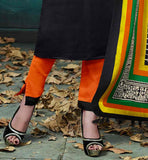 Bhagalpuri fabric black dress with orange cotton shalwar & multi color Bhagalpuri fabric bagru print dupatta EVER STYLISH ETHNIC SALWAR KAMEEZ