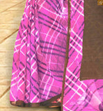 FABULOUS INDIAN STYLE CHECKERED PRINT WEAVING AT LOWER PART AND SOLID COLOR COMBINATION BORDER LINE WITH FULLY PRINTED SAREE DESIGNER BLOUSES PATTERN ON BACK NECK HALF SAREE LATEST DESIGNS