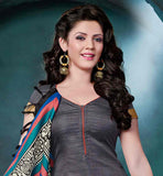DESIGNER GREY BHAGALPURI SUIT WITH CONTRAST RUST COLOR SALWAR STRAIGHT CUT DRESS WITH EXCITING PRINTED DUPATTA