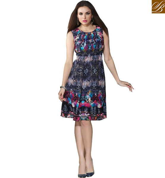 SMART KURTI DESIGNED FOR PARTIES VDSMM216 BY BLACK & GREY