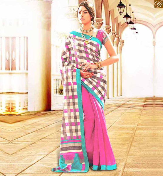 FANCY BLOUSE PATTERNS WITH HALF SAREE MODELS AT REDUCED PRICE SIMPLE RANI COLOR BHAGALPURI CASUAL WEAR SAREE WITH RANI BHAGALPURI DESIGNER BLOUSE