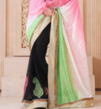 SPARKLING PINK & BLACK PARTY WEAR SARI RTCHA217