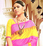 Majestic Daily Wear Latest New Collection Saree Blouse For Indian Women Lovely Pink Bhagalpuri Silk Latest Casual Saree With Yellow Bhagalpuri Designer Blouse