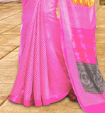 Lovely Pink Bhagalpuri Silk Latest Casual Saree With Yellow Bhagalpuri Designer Blouse Latest Saree Blouse Designs Of  Regular Wear For Daily Wear Sari