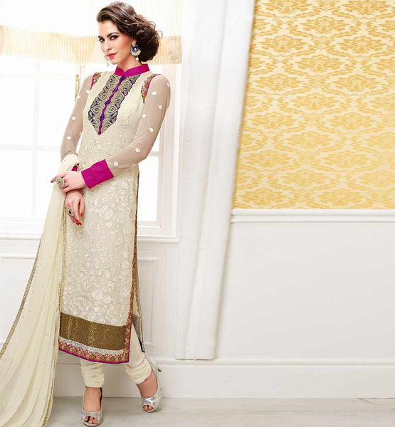 STYLISH DESIGN SALWAR KAMEEZ DRESS CONTRAST EMBROIDERY PATCH ON NECK BELA FASHIONS SUITS SURAT 218 CREAM STRAIGHT SUIT