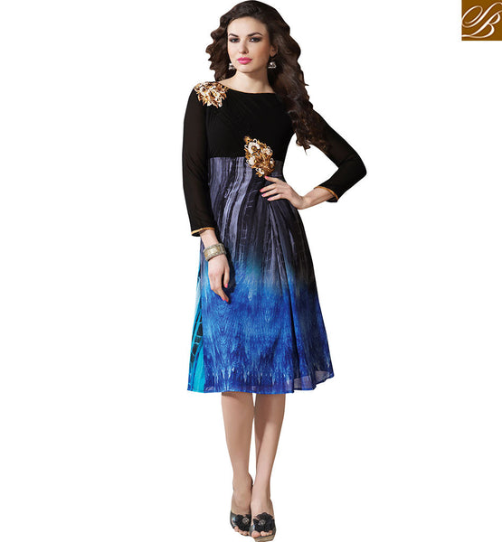 BROUGHT TO YOU BY STYLISH BAZAAR PERKY BLACK COLORED DIGITAL PRINTED KURTI VDSMM218