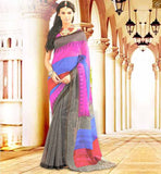 INDIAN BLOUSE DESIGN FOR STYLISH AND TRENDY HALF SAREE PATTERNS BLACK BHAGALPURI SILK CASUAL SAREE WITH PINK BHAGALPURI PRINTED BLOUSE