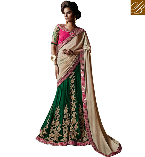 EVER STYLISH HEAVY EMBROIDERY WORK MARRIAGE WEAR LENGHA SAREE DESIGNS