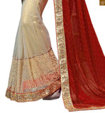 PRETTY RED AND CREAM GEORGETTE AND NET SARI WITH A CREAM BLOUSE. RTMAG22