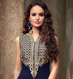 MAISHA 2204 STRAIGHT CUT NAVY BLUE SUIT WITH EMBROIDERED TROUSERS AND NAZNEEN ODHNI