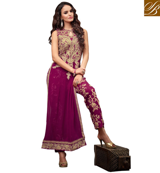 MAISHA DRESS STRAIGHT CUT  WITH EMBROIDERED TROUSERS DARK PINK GEORGETTE SUIT WITH SANTOON SALWAR, INNER AND NAZNEEN ODHNI SUIT ENRICHED WITH GOLDEN DESIGN
