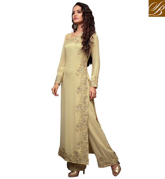 MAISHA 2107 BEAUTIFUL BEIGE STRAIGHT CUT GEORGETTE SUIT WITH NAZNEEN DUPATTA AND SANTOON SALWAR