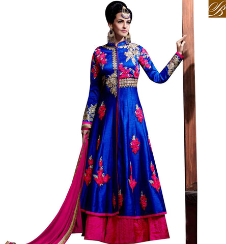 STYLISH BAZAAR ATTRACTIVE BLUE GEORGETTE PARTY WEAR DESIGNER ANARKALI SUIT WITH LEHENGA STYLE SLHOT2211